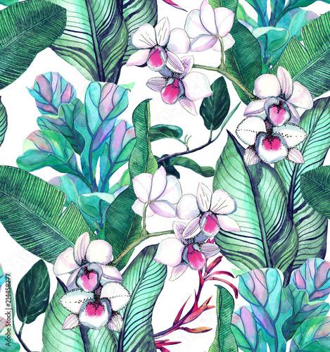 wzor-z-tropikalnych-lisci-i-kwiatow-wzor-akwareli-ze-storczykami-phalinopsis-bialej-orchidei-liscie-bananowca-tlo-botaniczne