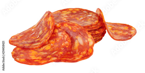 Spicy chorizo sausage meat slices isolated on a white background