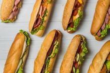 Fresh Sub Sandwich On White And Wheat Hoagies.