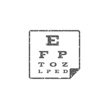 Eye Test Page Icon In Grunge Texture. Vintage Style Vector Illustration.