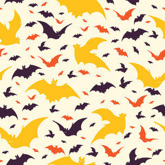 Flying Halloween Bats Vector Pattern, Hand Drawn Seamless Black Bat Silhouett...