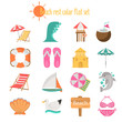 Beach rest color icons set. Flat design