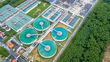 Aerial Top View Recirculation Solid Contact Clarifier Sedimentation Tank, Circle Water Treatment Plant, Ecology Healthy Environment Ecosystem Concept And Background.