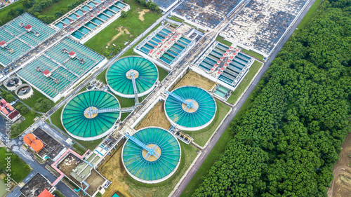 Aerial top view recirculation solid contact clarifier sedimentation tank, Circle water treatment plant, Ecology healthy environment ecosystem concept and background Poster Mural XXL