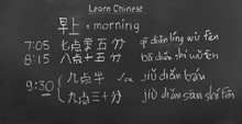Learning Chinese To Tell Time In Class Room.