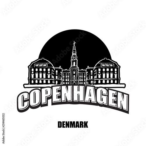 Photo  Copenhagen, Denmark, black and white logo
