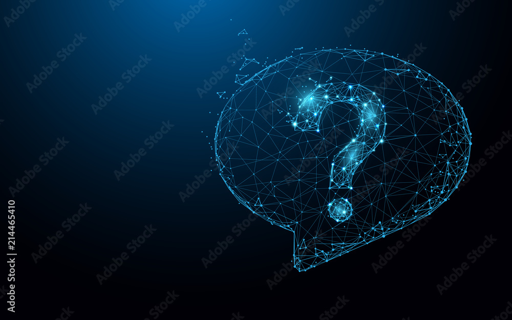 Fototapeta Question mark icon form lines, triangles and particle style design. Illustration vector