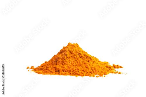 Turmeric powder (Curcuma) on white background. herbal
