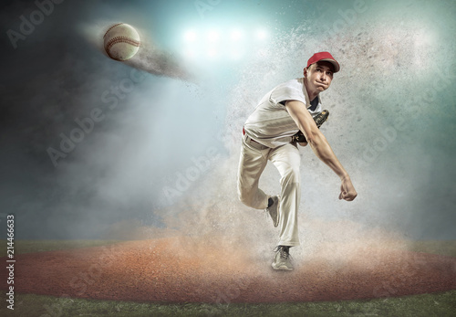 Baseball player in dynamic action around splash drops
