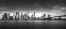 NEW YORK, UNITED STATES OF AMERICA - APRIL 30, 2017: Manhattan Downtown Skyline From The Brooklyn Bridge Park In New York City.