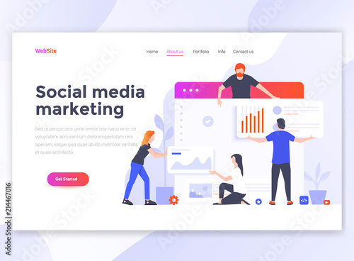 Flat Modern design of wesite template - Social media marketing Canvas Print