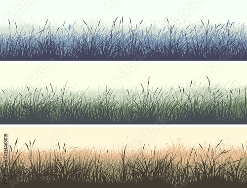 Horizontal color banners of meadow with high grass. - 214468019
