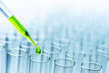 Pipette Over Test Tube Dropping Sample Chemical Into Sample Herbal Plaint , Biotechnoloy Research Concept