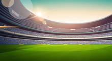 Empty Football Stadium Field V...