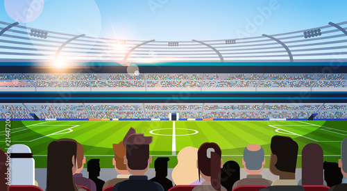 Fototapeta  empty football stadium field silhouettes of fans waiting match rear view flat ho