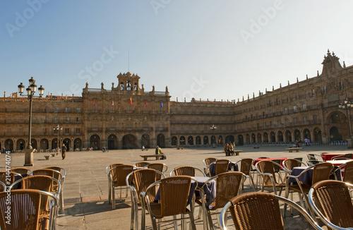 Staande foto Marokko Plaza Mayor, Salamanca, Altkastilien, Castilla-Le—n, Spanien. Errichtet 1755 vom Baumeister Alberto de Churriguera. Einer der grš§ten und bedeutendsten StadtplŠtze der Iberischen Halbinsel. Barock,