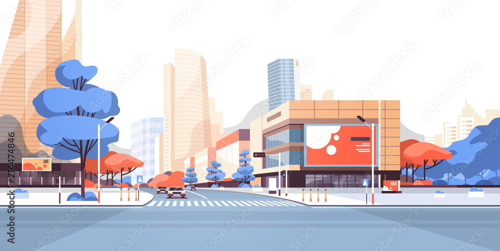 Fototapety, obrazy: City street road skyscraper buildings view modern cityscape downtown billboard advertising horizontal flat vector illustration