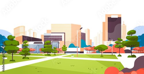 urban city park skyscraper buildings view modern cityscape downtown flat horizontal vector illustration