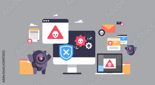 Fotografia, Obraz virus bot robot hacker danger piracy error background pirate attack artificial i