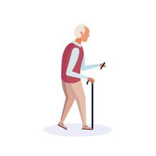 Old Man Walking Stick Using Smartphone Elderly Grandfather Walk Isolated Cartoon Character Full Length Flat Vector Illustration