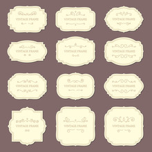 Vintage Label Frames. Old Ornamental Labels, Fashion Product Tag. Retro Frame Vector Template