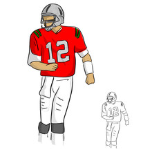 Amrican Football Player Number Twelve In Red Jersey Shirt Vector Illustration Sketch Doodle Hand Drawn With Black Lines Isolated On White Background