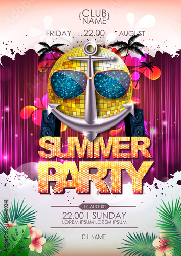 Disco background. Disco ball summer beach party poster © annbozhko