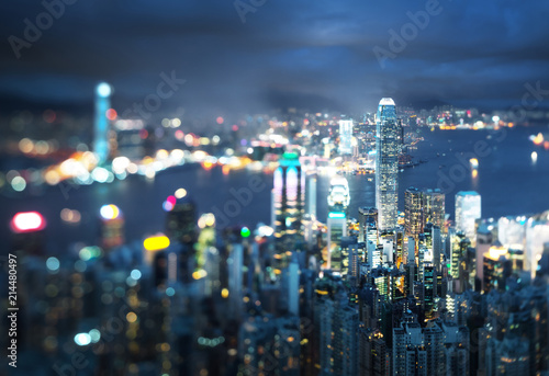 Keuken foto achterwand Aziatische Plekken Hong Kong from Victoria peak, ltilt shift photo