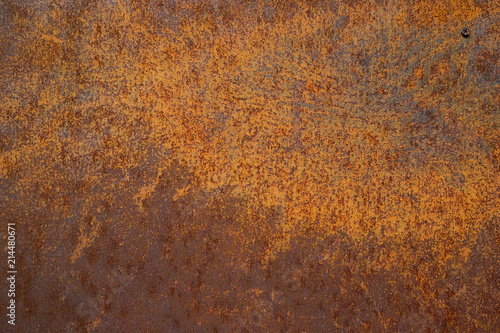 Poster Metal Off surface steel plate a Old and dirty Striped Background Yellow rust
