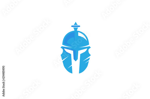Fototapeta Warrior Helmet Logo Design Illustration