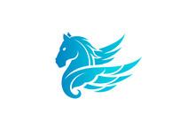 Horse Pegasus Logo Design Illu...