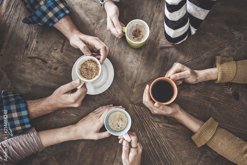 People drinking coffee high angle view