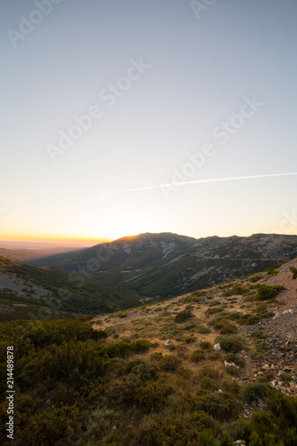 Fotobehang Wit Beautiful mountain landscape at sunset in La Peña de Francia, Salamanca, Spain