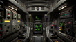 Inside view of the sci-fi cabin of the pilot. Front detailed view of the control sticks and futuristic display panel. Sci-fi space fighter craft cockpit. Scratched metal control panel. 3d rendering.