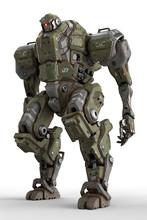 Sci-fi Mech Soldier Standing O...