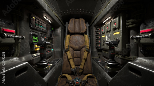 Fotografia Science fiction pilot's seat in the cockpit