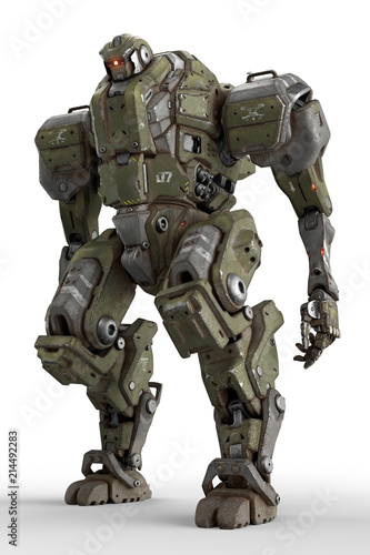 Fototapeta Sci-fi mech soldier standing on a white background. Military futuristic robot with a green and gray color metal. Mech controlled by a pilot. Scratched metal armor robot. Mech Battle. 3D rendering. obraz