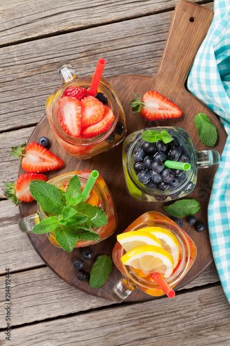 Staande foto Cocktail Fresh lemonade with summer fruits and berries