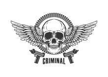 Winged Skull With Handguns. De...