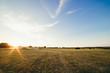 Landschaft mit Gras und Sonnenaufgang