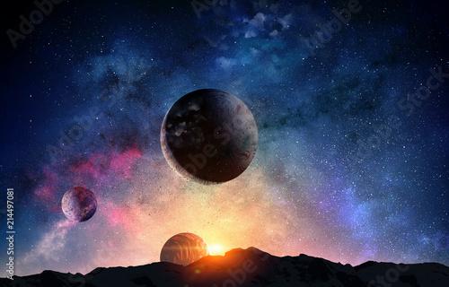 Foto Pluto planet. Mixed media