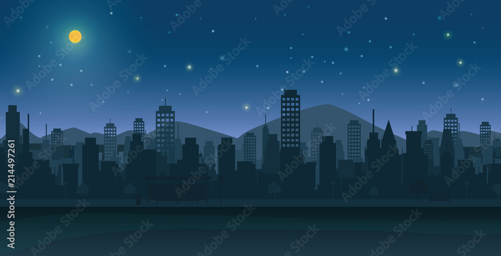 Fototapeta City at night with moon and stars