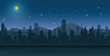 City At Night With Moon And Stars