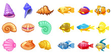 Cartoon Vector Game Icons With Seashell, Colorful Coral Reef Tropical Fish, Pearl, For Underwater Match Three Game, Apps On White Background. Isolated Elements.