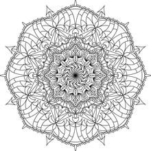 Flower Ornament Circles Mandala Design. Adult Mandala Coloring Page. Vector Illustration.