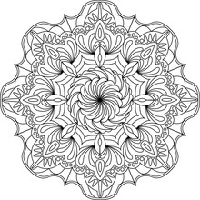 Flower Ornament Circles Mandala Design. Adult Mandala Coloring Page. Vector Illustration.