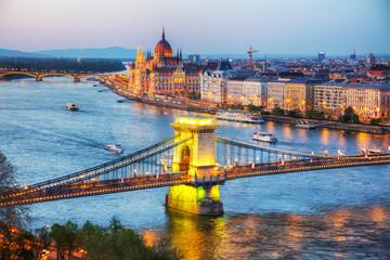 Fototapeta na wymiar Overview of Budapest at sunset