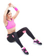 one woman exercising workout fitness aerobic exercise abdominal push ups posture on studio isolated white background.