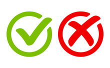 Green Tick Symbol And Red Cros...