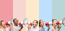 Mixed Group Of People, Women And Men Communicates Shouting Loud Holding A Megaphone, Expressing Success And Positive Concept, Idea For Marketing Or Sales